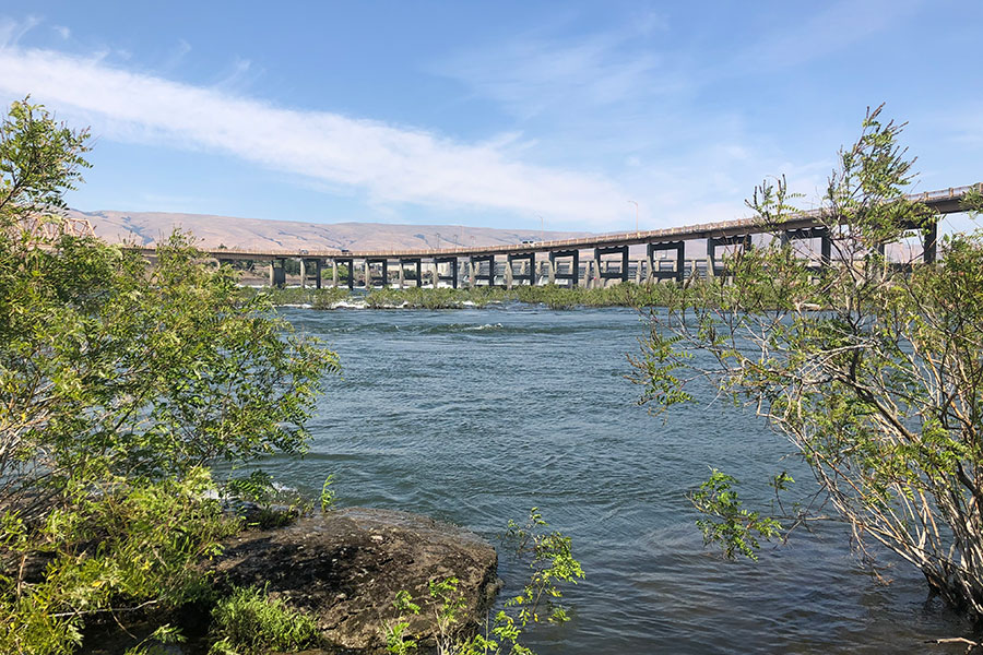 view of the Columbia River and bridge